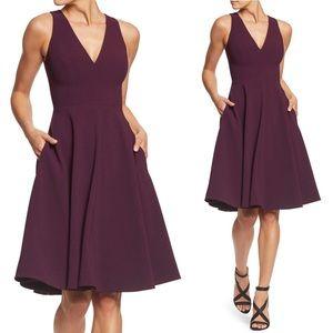 Dress The Population Plum Fit & Flare Dress